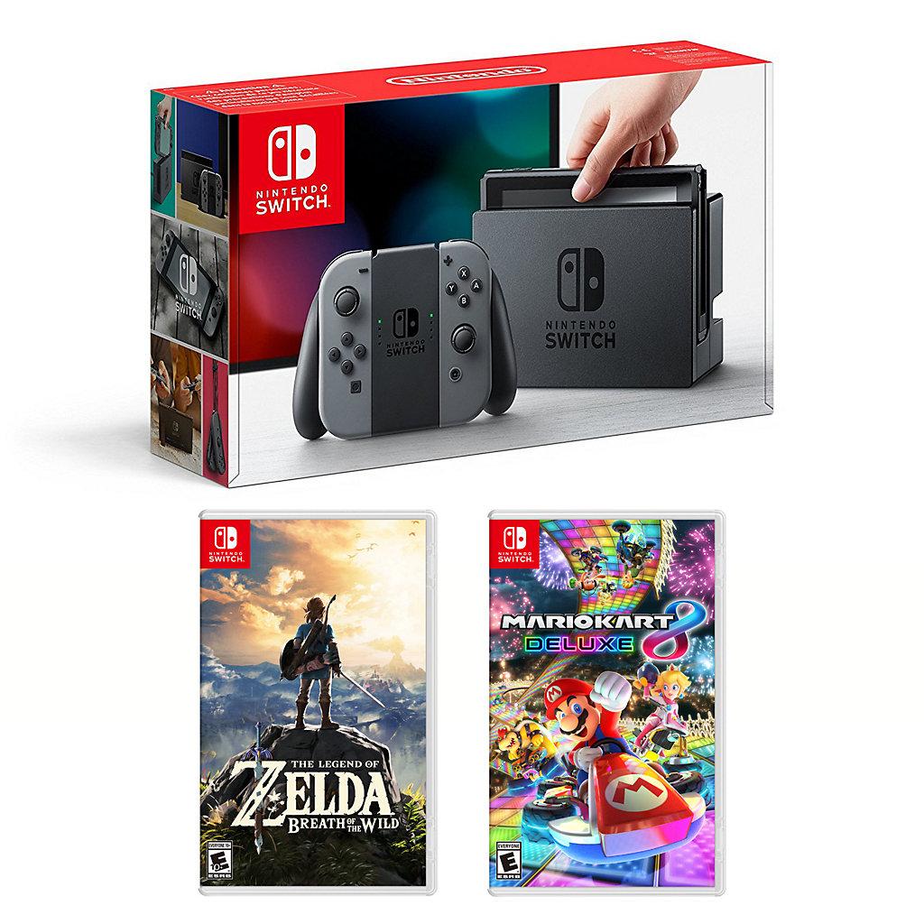 Nintendo Switch Legend of Zelda Breath of the Wild & Mario Kart 8 Deluxe Bundle
