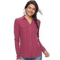 Women's SONOMA Goods for Life™ Supersoft Ribbed Johnny Collar Shirt