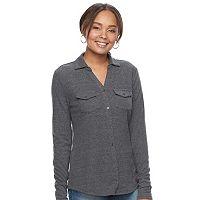 Women's SONOMA Goods for Life™ Ribbed Johnny Collar Shirt