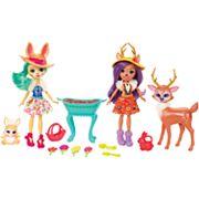 Enchantimals Garden Magic Fluffy Bunny Doll & Danessa Deer Doll Set