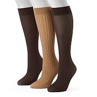Women's Apt. 9® 3-pk. Assorted Jacquard & Solid Knee High Socks