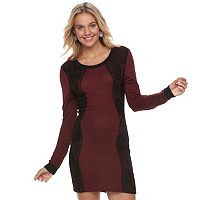 Juniors' Trixxi Lace Bodycon Sweater Dress