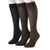 Women's Apt. 9® 3-pk. Jacquard Trouser Knee High Socks