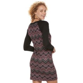 Juniors' Three Pink Hearts Chevron Lace-Up Sweater Dress