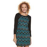 Juniors' Trixxi Chevron Lace-Up Sweater Dress