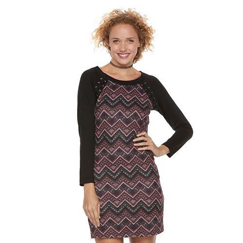 Juniors' Three Pink Hearts Chevron Lace-Up Sweater Dress