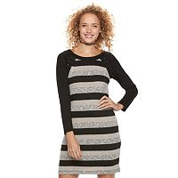 Juniors' Three Pink Hearts Striped Lace-Up Sweater Dress
