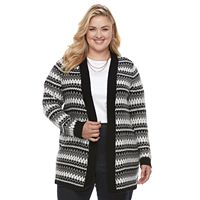 Plus Size Croft & Barrow® Fairisle Cardigan Sweater