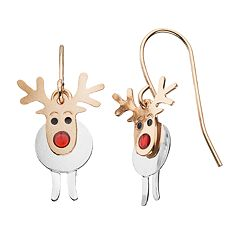 Two Tone Reindeer Drop Earrings