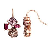 Brilliance Pink Cluster Drop Earrings with Swarovski Crystals