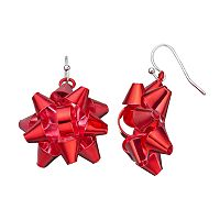 Christmas Red Bow Drop Earrings