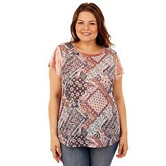 Juniors' Plus Size Wallflower Print Velour Sleeve Tee