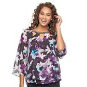 Women's Jennifer Lopez Print Cutout Chiffon Top