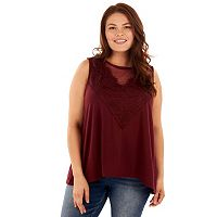 Juniors' Plus Size Wallflower Lace Dot Inset Swing Tank