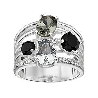 Brilliance Multi Row Ring with Swarovski Crystals
