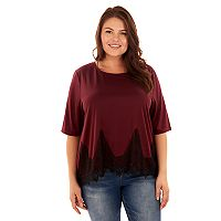 Juniors' Plus Size Wallflower Lace Hem Swing Tee