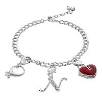 Silver Plated Cubic Zirconia Ring, Heart Locket & Crystal Initial Charm Bracelet