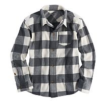 Boys 4-10 Jumping Beans® Checked Plaid Microfleece Shirt