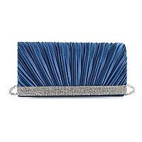 Gunne Sax Chloe Pleated Satin Rhinestone Clutch
