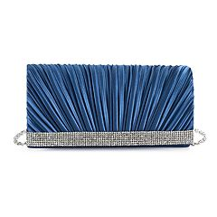 Gunne Sax by Jessica McClintock Chloe Pleated Satin Rhinestone Clutch