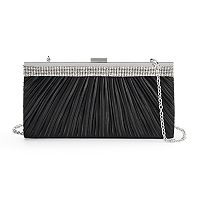 Gunne Sax Laura Pleated Satin Rhinestone Frame Clutch