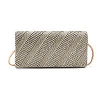Gunne Sax Chloe Diagonal Pleated Lurex Clutch