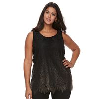 Plus Size Apt. 9® Scalloped Lace Hem Tunic Top