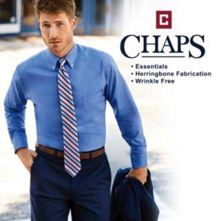 Big & Tall Chaps Regular-Fit Herringbone Wrinkle-Free Dress Shirt