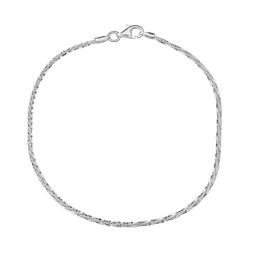 PRIMROSE Sterling Silver Twisted Sparkle Chain Bracelet