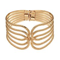 Plus Size Textured Openwork Bangle Bracelet