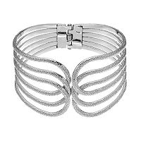 Plus Size Textured Openwork Bangle Bracelet