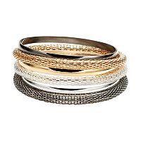 Plus Size Tri Tone Mesh Bangle Bracelet Set