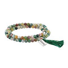 Healing Stone Jasper Bead & 'Balance' Charm Wrap Bracelet