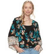Juniors' About A Girl Print Draped Sleeve Top