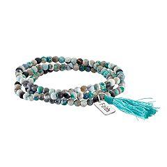Healing Stone Agate Bead & 'Faith' Charm Wrap Bracelet