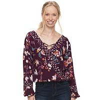 Juniors' About A Girl Cross Front Surplice Top