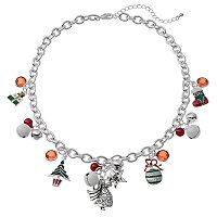 Christmas Tree, Ornament, Jingle Bell & Angel Charm Necklace