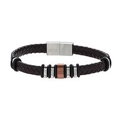 Men's Tri Tone Stainless Steel Woven Leather Bracelet