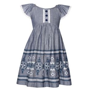 Girls 4-6x Bonnie Jean Chambray Embroidered Dress