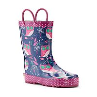 Western Chief Owl Dream Girls' Waterproof Rain Boots
