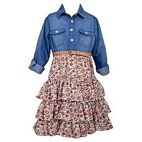 Girls 4-6x Bonnie Jean Denim Floral Tiered Dress