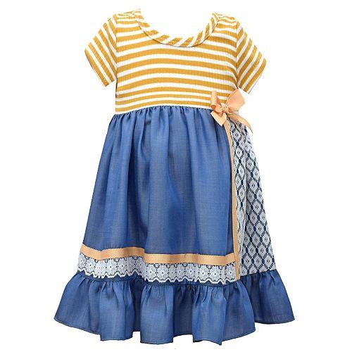 Girls 4-6x Bonnie Jean Red Stripe Chambray Dress
