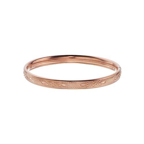 Charming Girl Kids' 14k Rose Gold-Filled Flower Bangle Bracelet