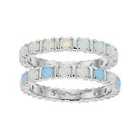 Sterling Silver Lab-Created Opal 2 Piece Stack Ring Set