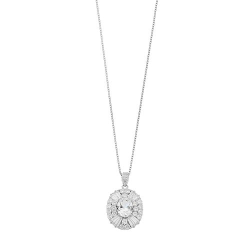 Sterling Silver Lab-Created White Sapphire & Cubic Zirconia Oval Pendant Necklace