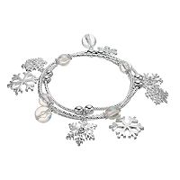 Snowflake Charm Beaded Stretch Bracelet Set