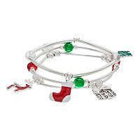 Christmas Tree, Reindeer & Stocking Charm Stretch Bracelet Set