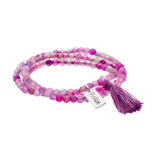"Healing Stone Amethyst Bead & ""Relax"" Charm Wrap Bracelet"