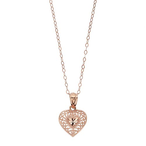 Charming Girl Kids' 10k Rose Gold Filigree Heart Pendant Necklace
