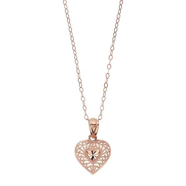 Charming Girl Kids' 10k Rose Gold Filigree Heart Pendant Necklace